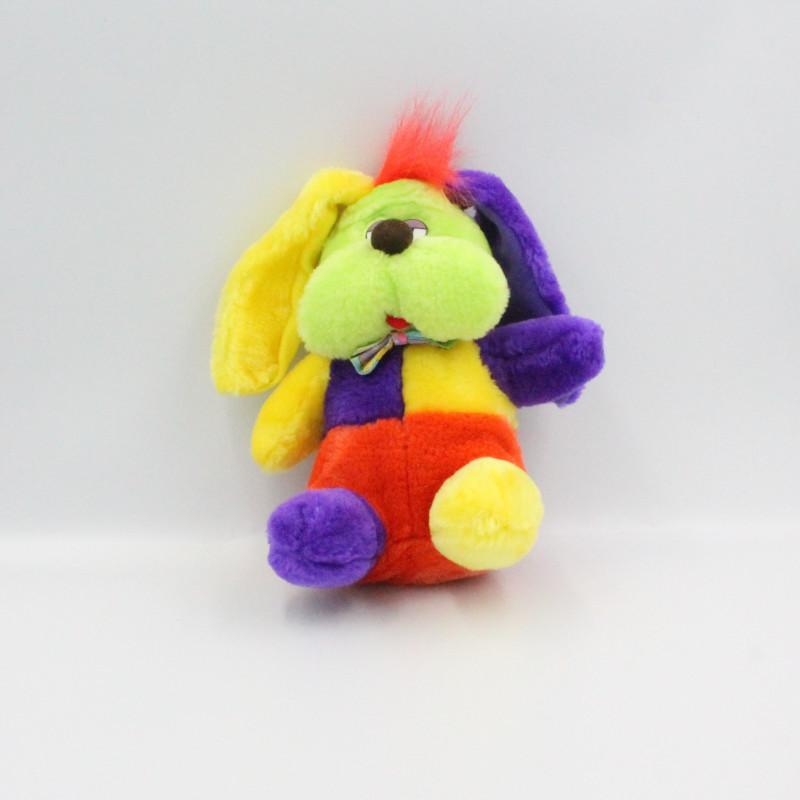 Peluche chien fluo vert violet jaune rouge ELUZ
