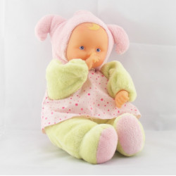 Doudou poupée bébé Baby pouce vert pois rose COROLLE