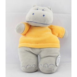 Doudou plat hippopotame gris orange INFLUX