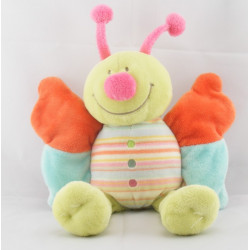 Doudou papillon vert ailes bleu orange NOUKIE'S