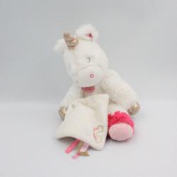 Doudou licorne blanche rose doré avec mouchoir BABY NAT