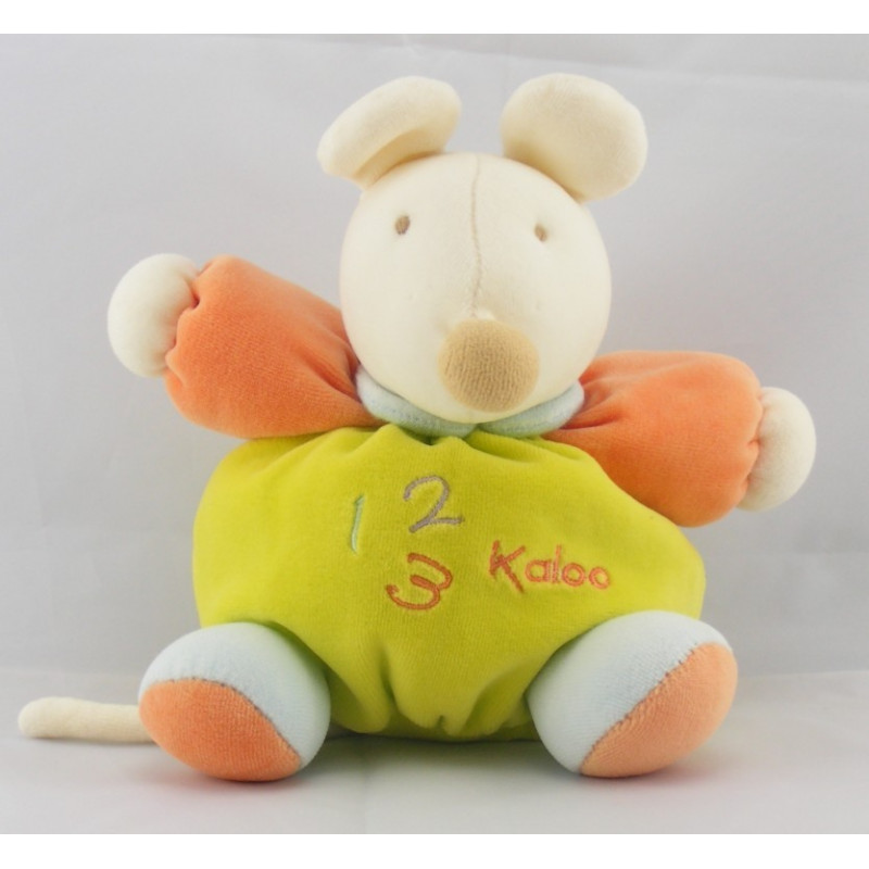 Doudou souris bleu verte orange 1 2 3 KALOO