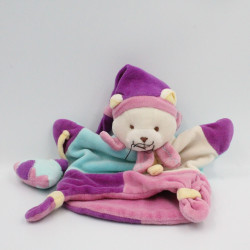 Doudou et compagnie marionnette chat rose bleu avec tipi