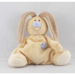 Doudou lapin beige queue et nez bleu Bloupi JOLLYBABY