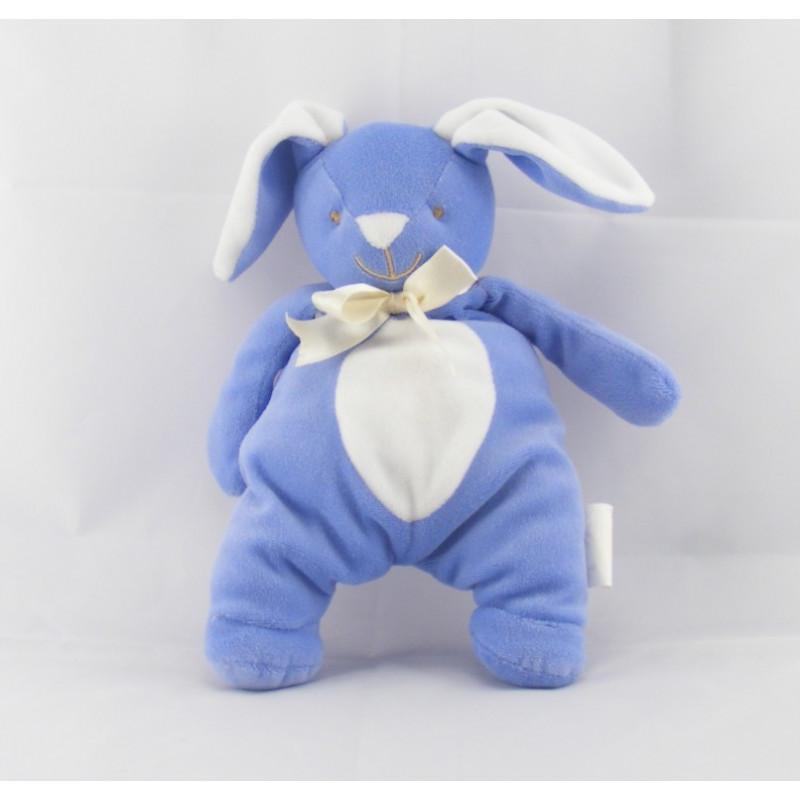 Doudou lapin bleu au ventre blanc Bengy
