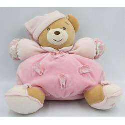 Doudou ours patapouf lilirose rose avec fleurs Kaloo