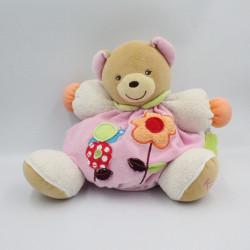 Doudou ours patapouf rose blanc vert fleurs escargot Kaloo