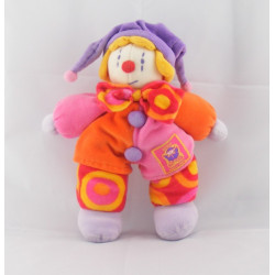 Doudou plat Gino le clown rose MOULIN ROTY
