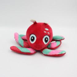 Doudou peluche pieuvre rouge rose vert HIGH5