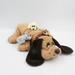 Peluche chien beige marron Pitou avec bébés VULLI