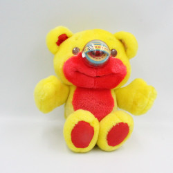 Peluche ours jaune rouge NOSY BEAR circuit voitures HASBRO Vintage