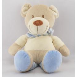 Doudou ours beige blanc rayé bleu POMMETTE