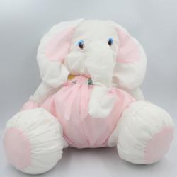Peluche Puffalump éléphant blanc rose Complete rapport