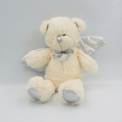 Doudou peluche ours ange blanc argent ailes TOWER TOYS