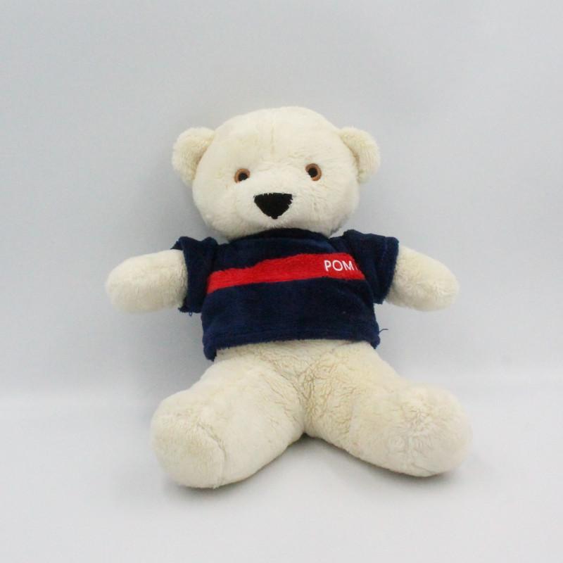 Doudou peluche ours blanc pull bleu rouge Pompy
