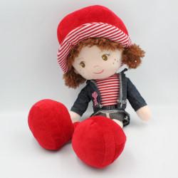 Doudou poupée chiffon rouge bleu jean LOGITOYS