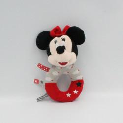 Doudou hochet Minnie rouge gris DISNEY