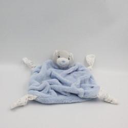 Doudou plat ours plume bleu noeuds KALOO