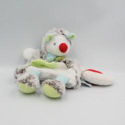 Doudou marionnette hérisson Gaston blanc beige bleu vert Les Douillettes BABY NAT