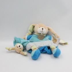 Doudou plat lapin bleu Pinou et son bébé DOUDOU ET COMPAGNIE