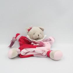 Doudou et Compagnie plat marionnette chat gris rose étiquettes Mario