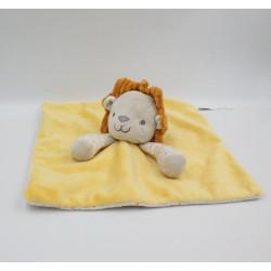 Doudou plat lion jaune orange beige pois OBAIBI