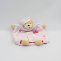 Doudou marionnette ours mauve rose fleurs Lilirose KALOO