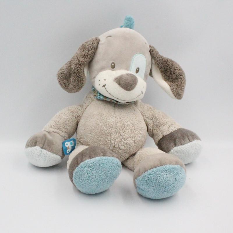 Doudou chien gris bleu train Gaston et Cyril NATTOU 30 cm