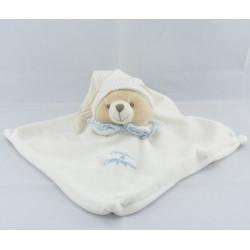 Doudou et compagnie plat ours blanc bonnet col bleu