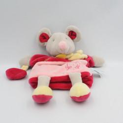Doudou marionnette souris rose jaune gris il était une fois Baby nat
