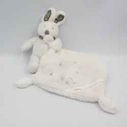 Doudou plat lapin blanc foulard gris mouchoir SIMBA TOYS NICOTOY
