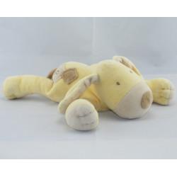 Doudou chien couché jaune beige OBAIBI