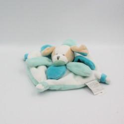 Doudou et compagnie chien plat collector blanc bleu pétales