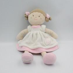 Doudou poupée robe blanche rose My first Doll BUKOWSKI