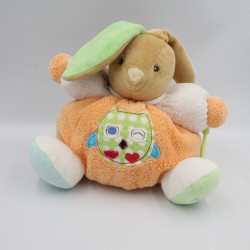 Doudou lapin orange vert bleu hibou chouette colors Kaloo