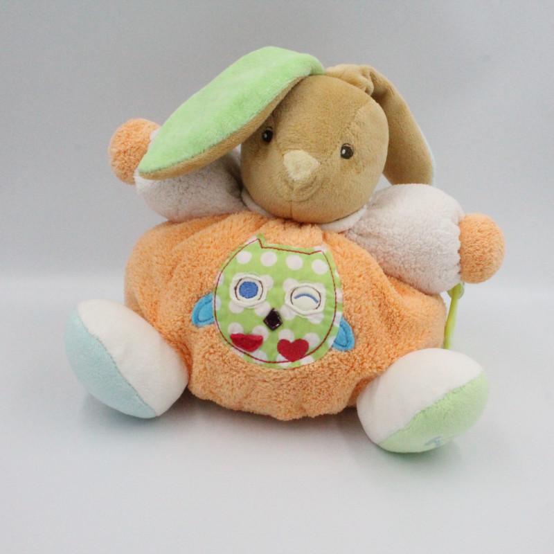 Doudou lapin orange vert bleu hibou chouette colors Kaloo