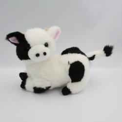 Doudou peluche vache blanche et noir