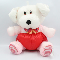 Peluche Puffalump chien blanc rose rouge