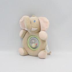Doudou hochet éléphant beige rose AUCHAN