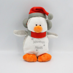 Doudou pingouin gris Joyeux Noël FRANCOISE SAGET