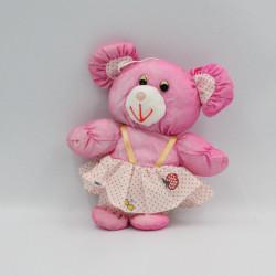 Petite Peluche Puffalump souris rose pois