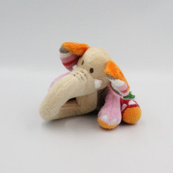 Doudou hochet éléphant beige rose rouge orange gris HAPPY HORSE