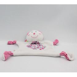 Doudou plat ours blanc rose rayé fleurs P'TIT BISOU AUBERT