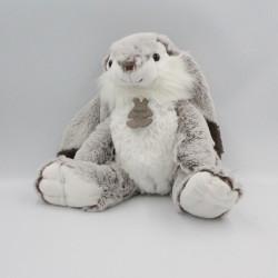 Doudou Peluche lapin marron blanc HISTOIRE D'OURS 30 cm