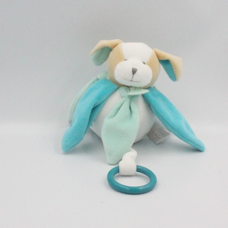 Doudou et compagnie musical chien collector blanc bleu pétales Menthe
