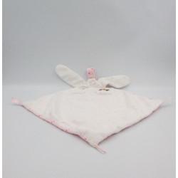Doudou plat lapin rose blanc étoiles CAD DISTRICENTER