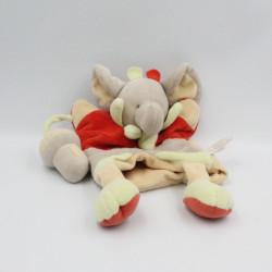 Doudou et compagnie plat marionnette éléphant gris rouge vert Champignon