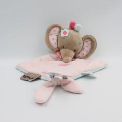 Doudou plat éléphant beige rose bleu coeur Charlotte NATTOU