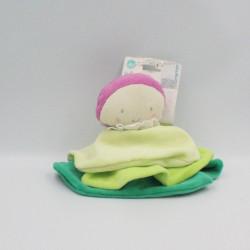 Doudou plat rond poupée vert rose ORCHESTRA PREMAMAN