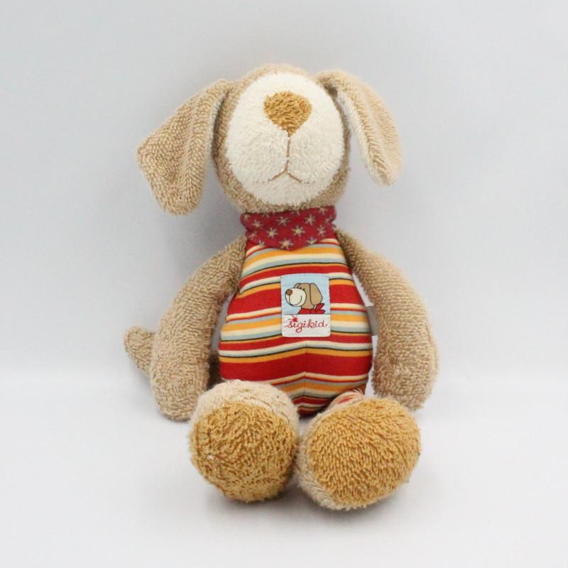 Doudou chien beige rouge rayé SIGIKID